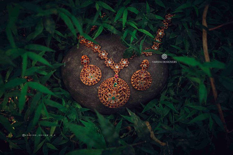 Statement Antique Real Kemp Stone Necklace-01