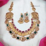 Traditional Double Layered Square Pattern Lakshmi Coin Necklace
