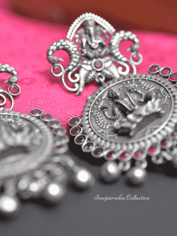 Traditional Ganesha-Lakshmi Design German Silver Earrings-03