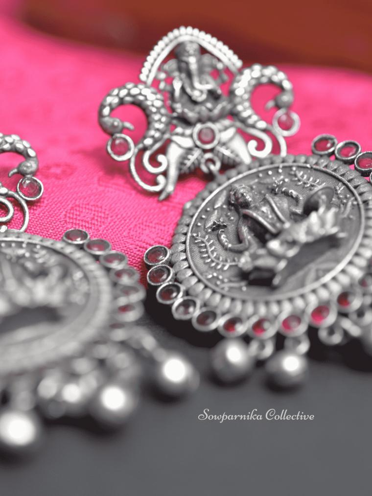 Traditional Ganesha-Lakshmi Design German Silver Earrings-03