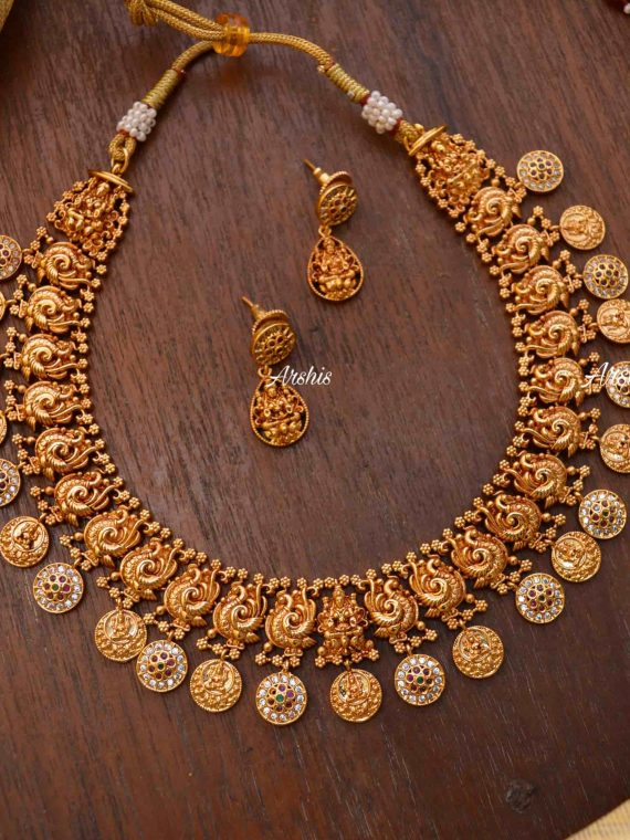 Traditional Lakshmi Temple Peacock Necklace-01