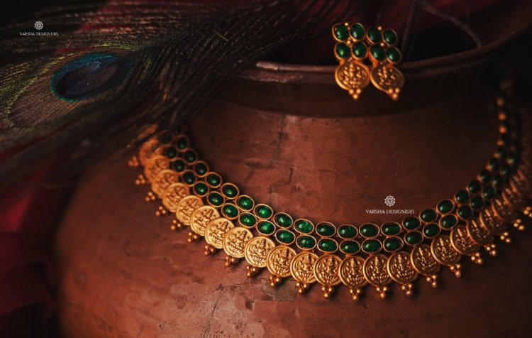 Traditional Matte Green Stone Lakshmi Coin Necklace-01