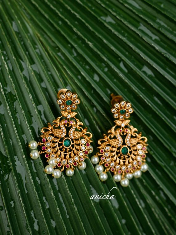 Traditional Matte Peacock Chandbalis-01