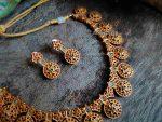 Uncut & Ruby Stone Matte Finish Necklace-02