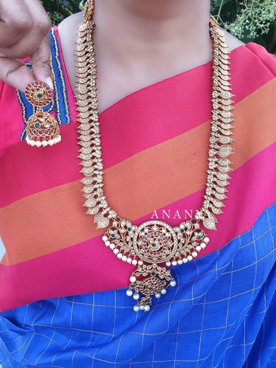 Matte Finish Grand Long Haram with Jhumka
