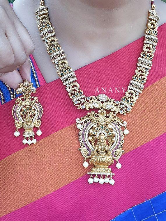 Elegant Matte Finish Lakshmi Pendant Designer Necklace
