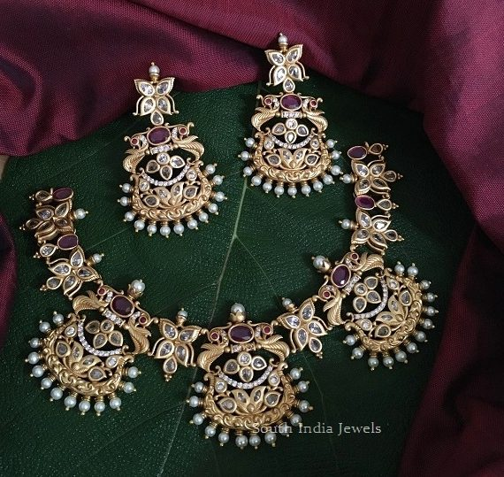Exclusive Peacock Design Chandbali Necklace