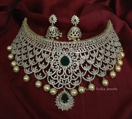 Grand CZ Stone Choker with Jhumkas