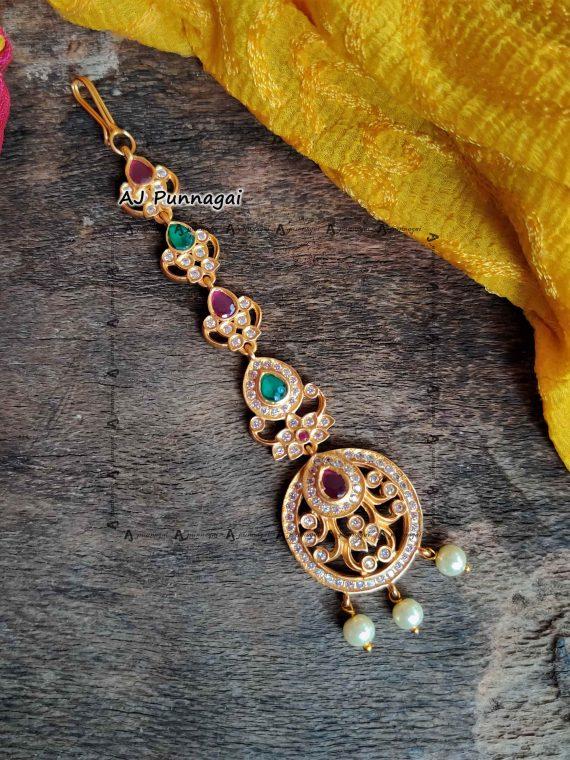 Ruby Emerald Stones Pendant Tikka, Maang Tilak, Maang Tikka