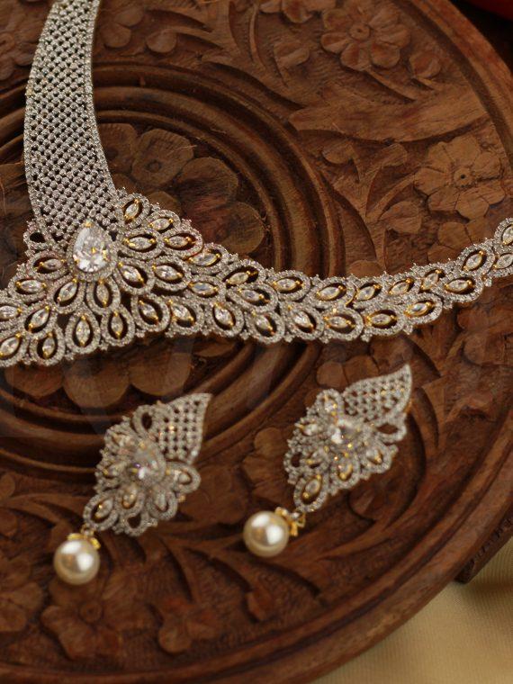 Classic Designer White Stone Necklace