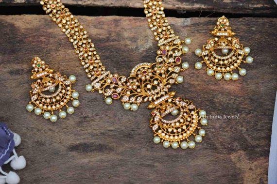 Matte Finish Chandbali Pearl Drop Necklace