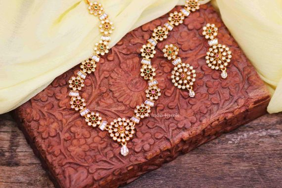 Stunning AD Stone Necklace with Earrings