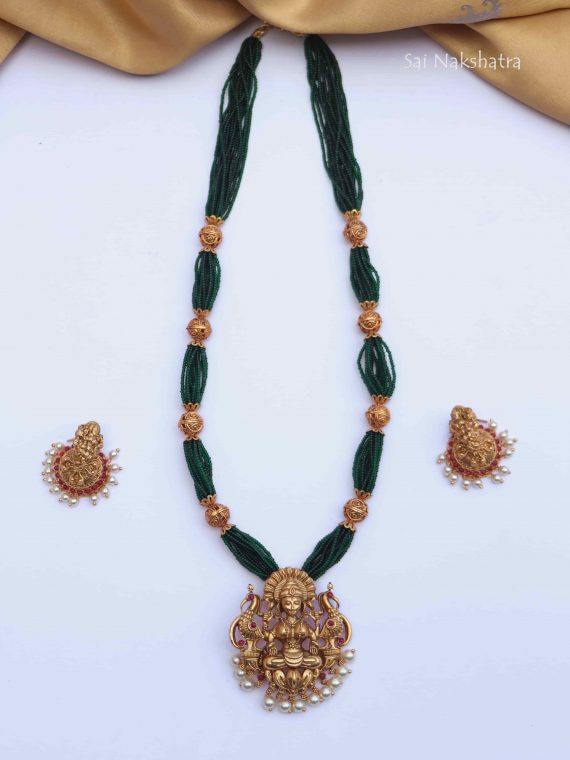 Small Beads Lakshmi Pendant Long Necklace