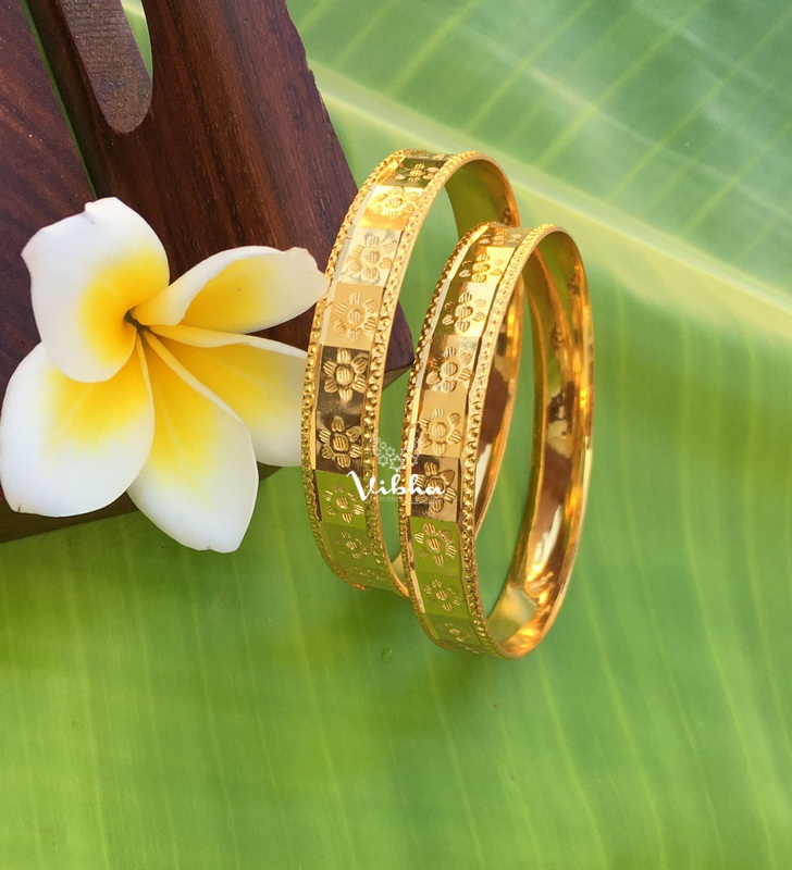 Simple Flower Design Set of Two Bangles
