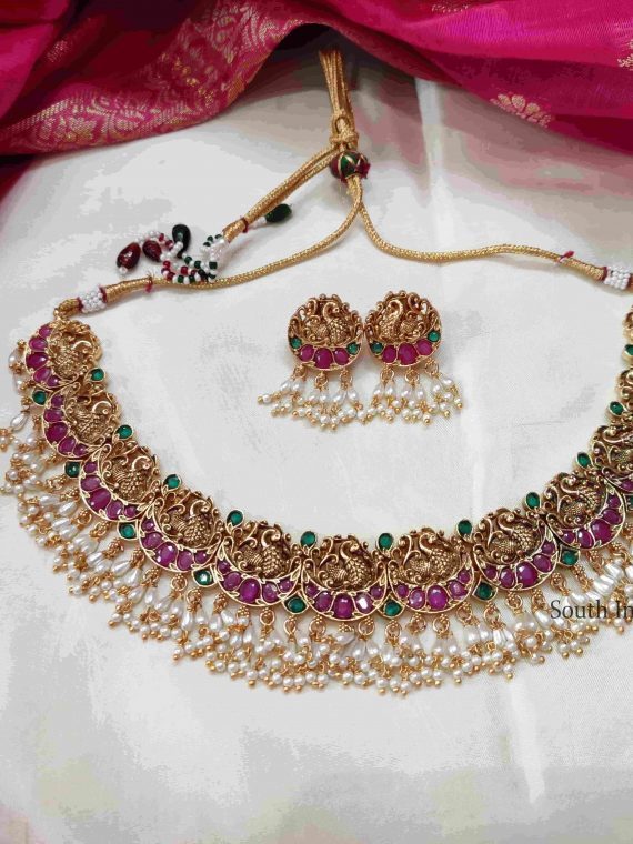 Elegant Peacock Design Guttapusalu Necklace