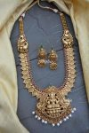 Lakshmi pendant Long Haram With Jhumkas