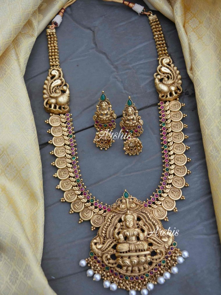 Lakshmi pendant Long Haram With Jhumkas