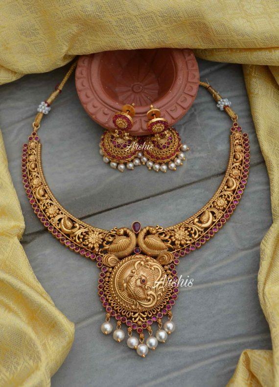 Matte Finish Peacock Design Necklace