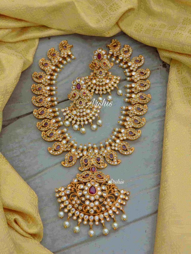 Classic AD Stone Mango Design Necklace