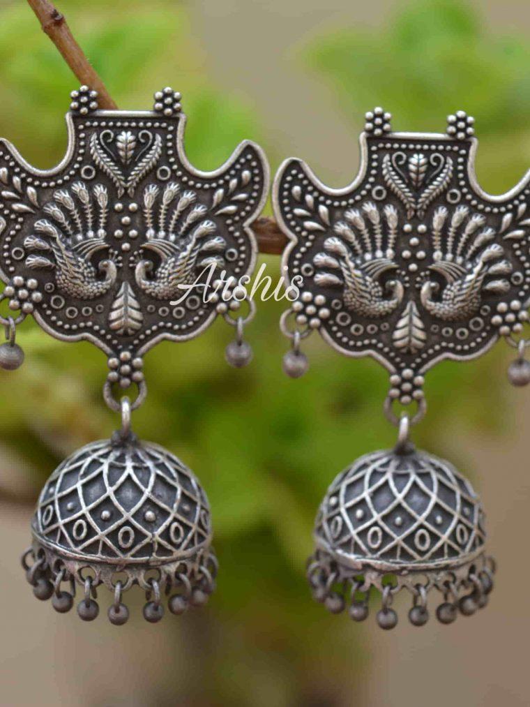 Beautiful German Silver Peacock Design Jhumka