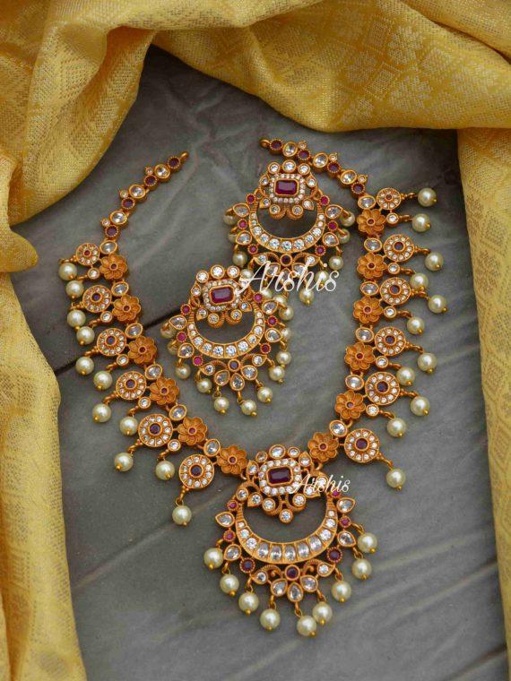AD Stone Flower Design Necklace-01