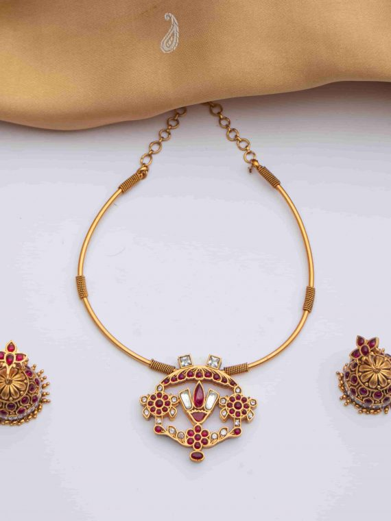 Ruby Stone Matte Finish Necklace With Jhumkas