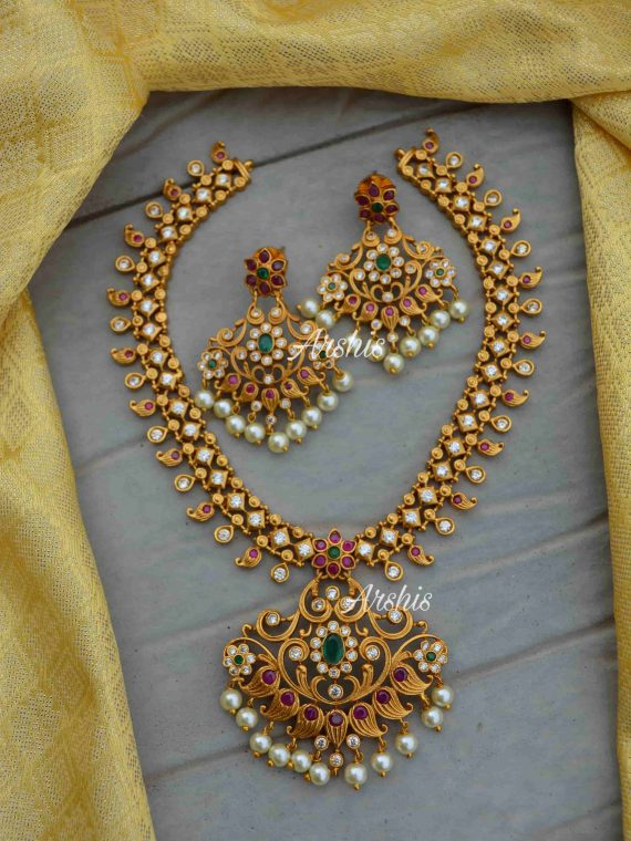 Matte Finish AD Stone Necklace With Jhumkas