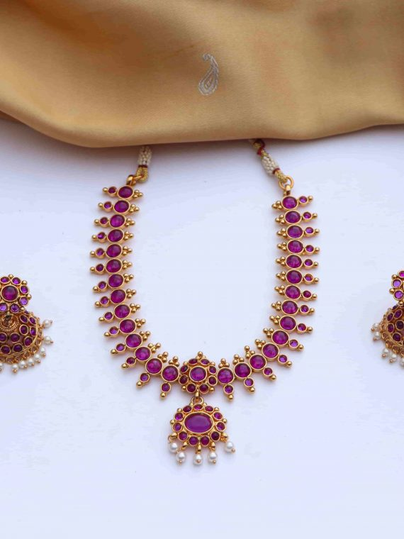 Beautiful Blue & Lavender Stones Short Necklace With Jhumkas