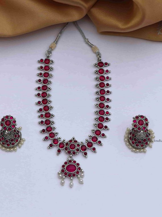 Beautiful Stones Necklace With Jhumkas
