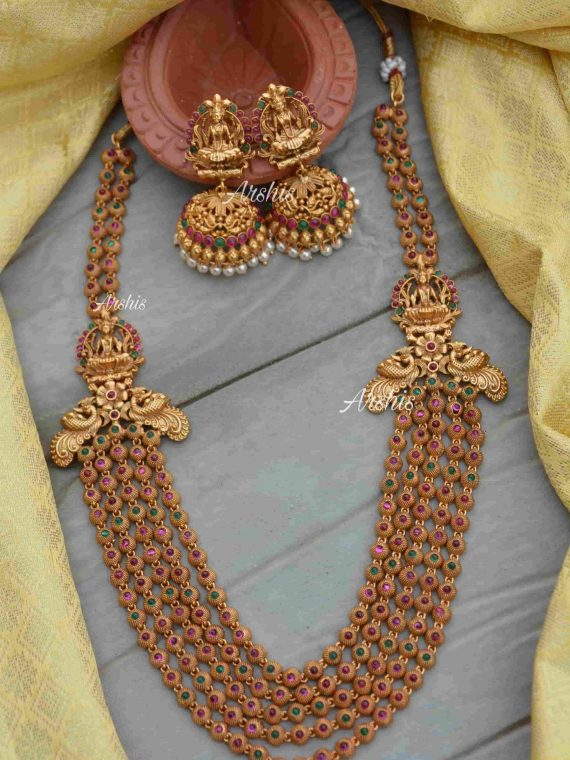 Beautiful 5 Layer Lakshmi Haram With Jhumkas