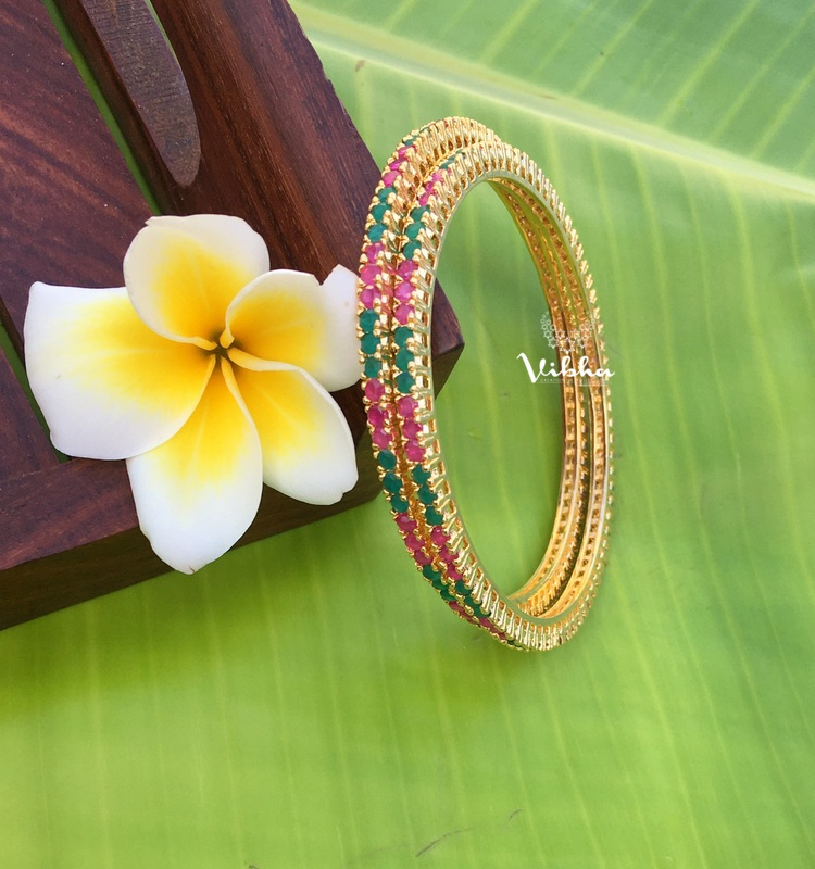 Beautiful Ruby Emerald Designer Bangles