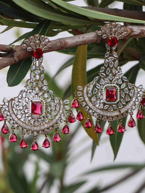 Ad Stone Chandbali Designer Earrings