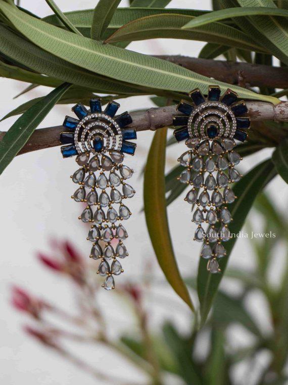 Classic AD & Blue Stones Designer Earrings