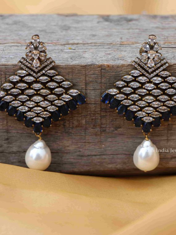 Beautiful AD Stones Earrings With Pearl Dangling