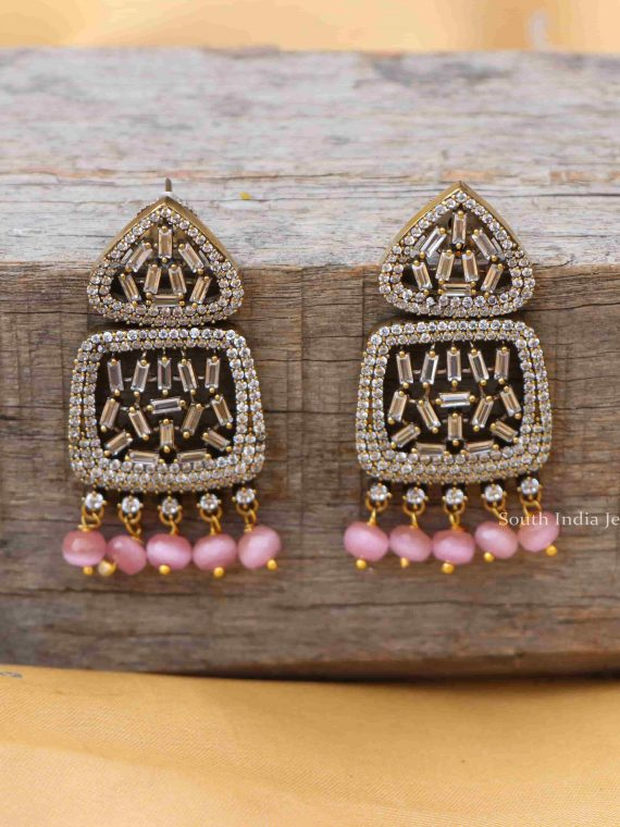 AD Stone Designer Earrings With Pink Beads Dangling