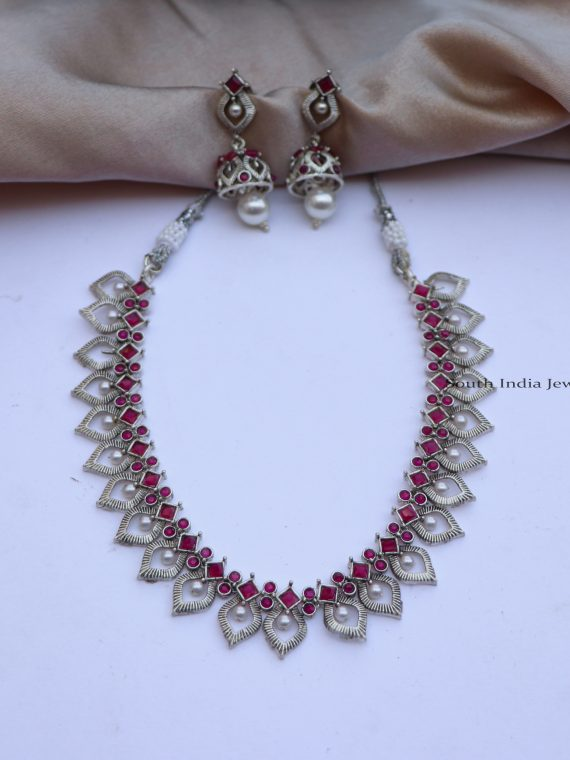 Beautiful Stone Embedded German Silver Necklace