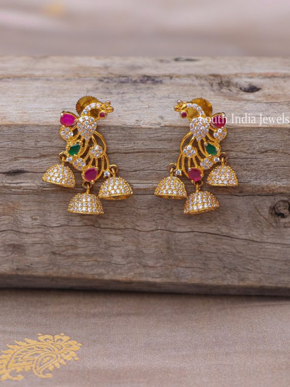 Beautiful Peacock Design AD Stone Jhumkas