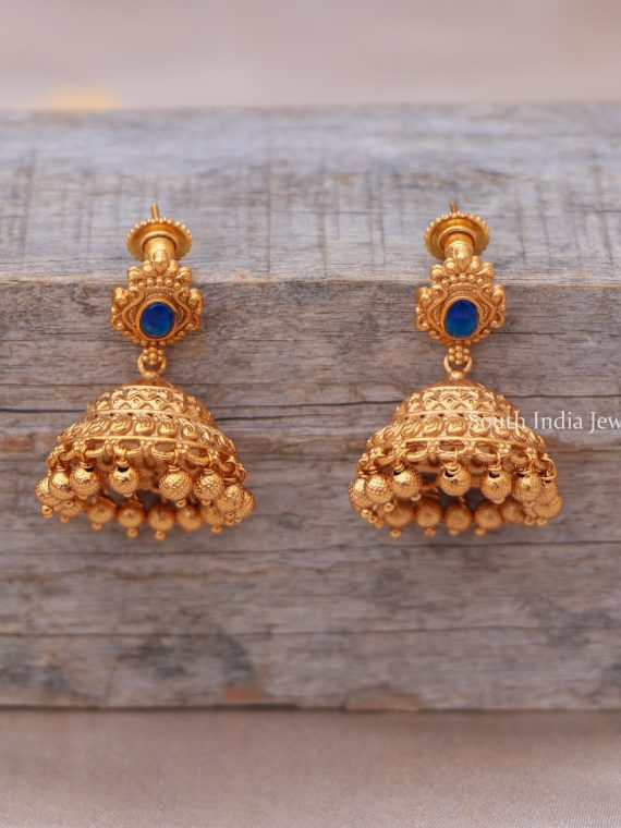 Simple Matte Finish Stone Jhumkas