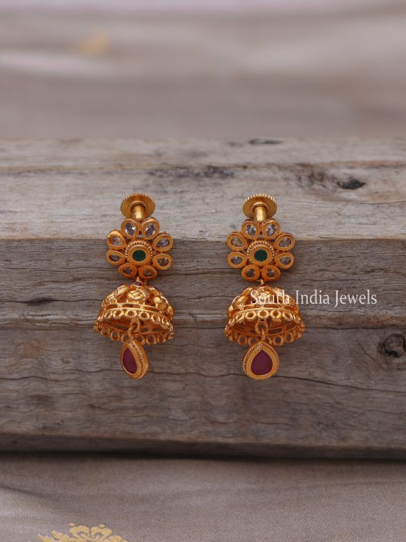 Beautiful Matte Finish AD Stone Jhumkas