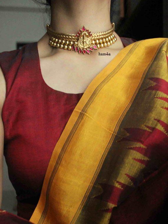 Gold Plated Silver Lakshmi Pendant Choker
