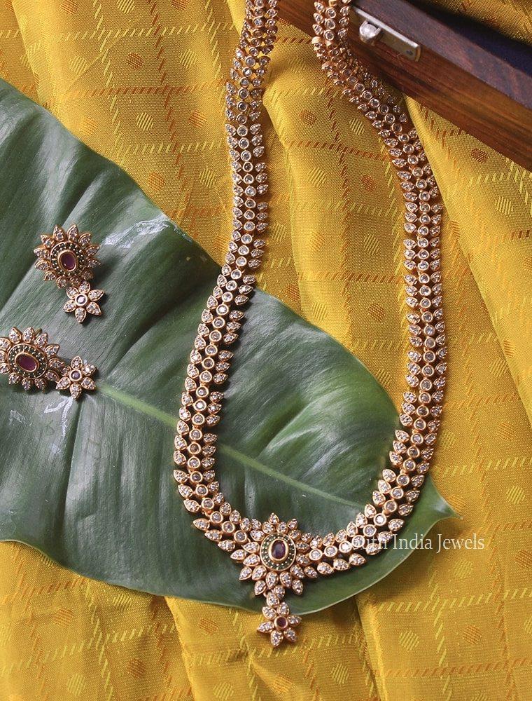 CZ & Kemp Stone Long Necklace
