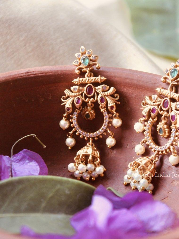 AD Stone Multi Color Chandbali Earrings