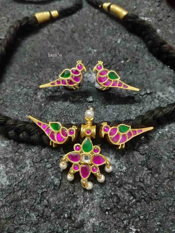 Handmade Pink Parrot Design Thread Chocker Set