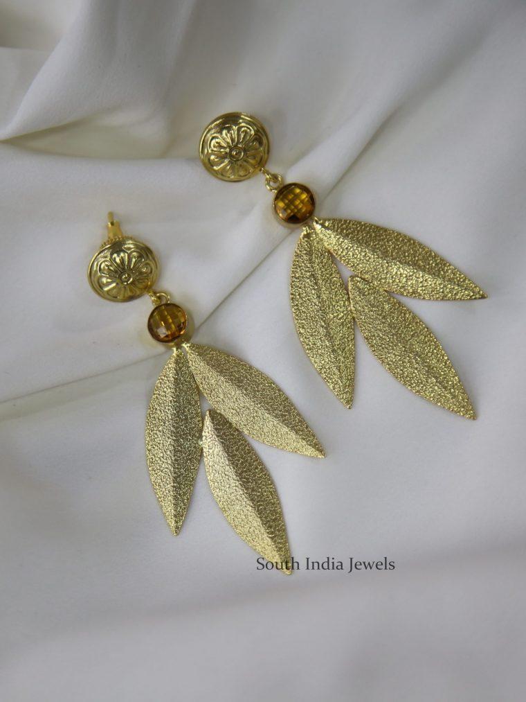 Beautiful Golden Leaf Designer Earrings