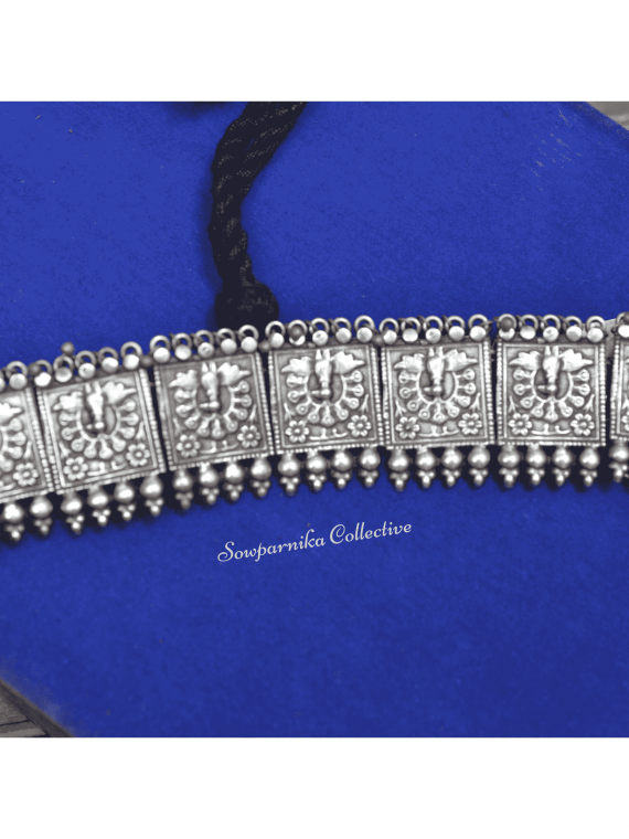German Silver Peacock Choker With Jhumkas