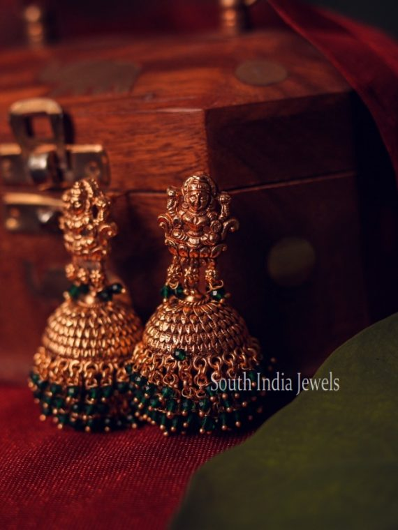 Beautiful Lakshmi Design Emerald Drop Jhumka