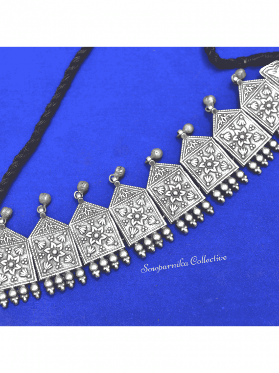 German Silver Kolam Choker With Jhumkas