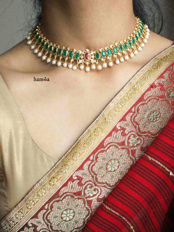Ruby Emerald Stones Hamsa Design Choker