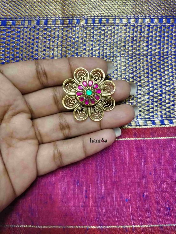 Gold Plated Silver Kemp Stone Flower Ring
