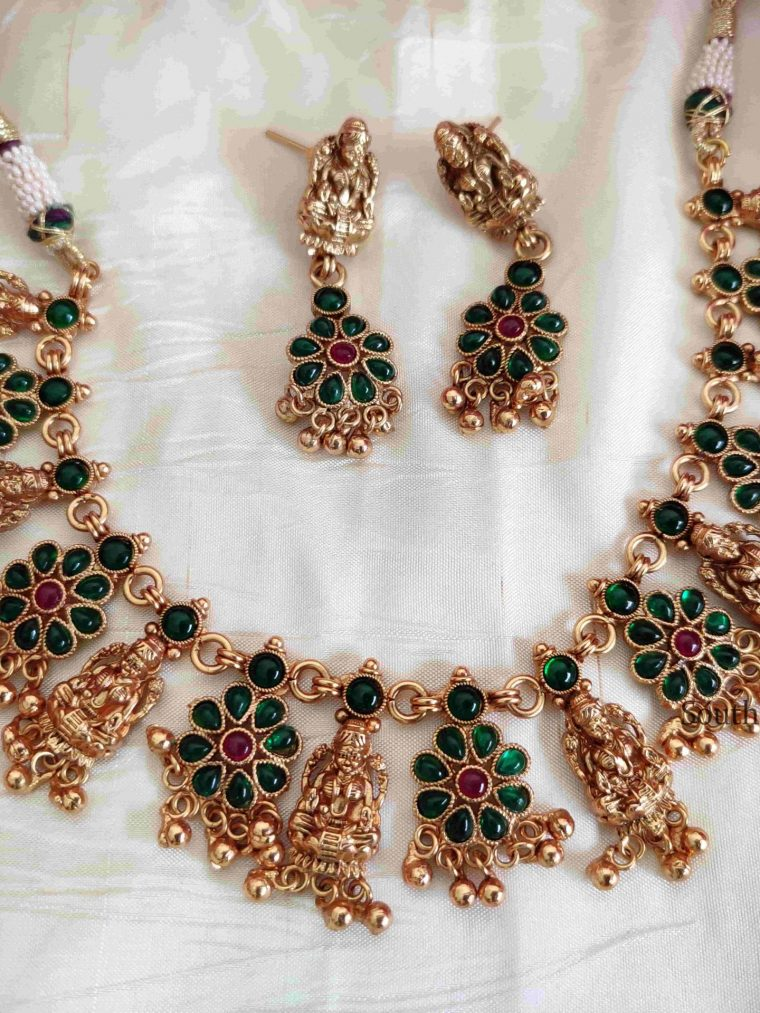 Ruby Stone Lakshmi Necklace With Matching Earrings